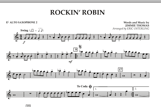 Eric Osterling Rockin' Robin - Eb Alto Saxophone 2 sheet music notes and chords. Download Printable PDF.