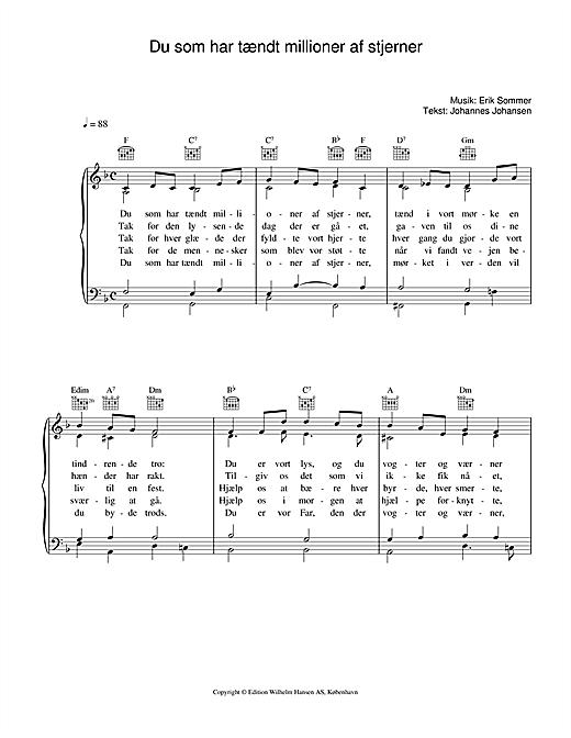 Erik Sommer Du Som Har Tændt Millioner Af Stjerner sheet music notes printable PDF score
