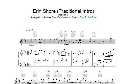 The Corrs Erin Shore (Traditional Intro) sheet music notes printable PDF score