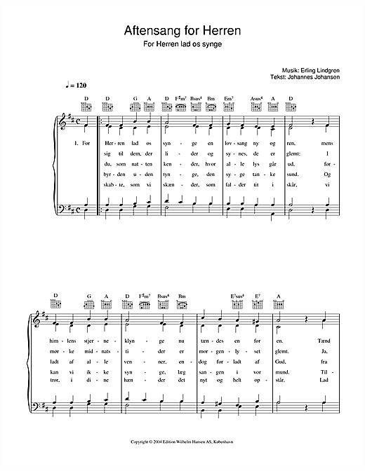 Erling Lindgren Aftensang For Herren - For Herren Lad Os Singe sheet music notes printable PDF score