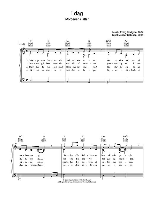 Erling Lindgren I Dag Morgenens Latter sheet music notes printable PDF score