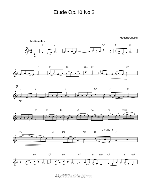 Frederic Chopin Etude in E Major, Op.10, No.3 (Tristesse) sheet music notes printable PDF score