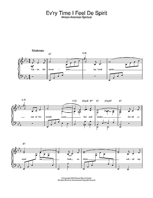 African-American Spiritual Ev'ry Time I Feel De Spirit sheet music notes printable PDF score