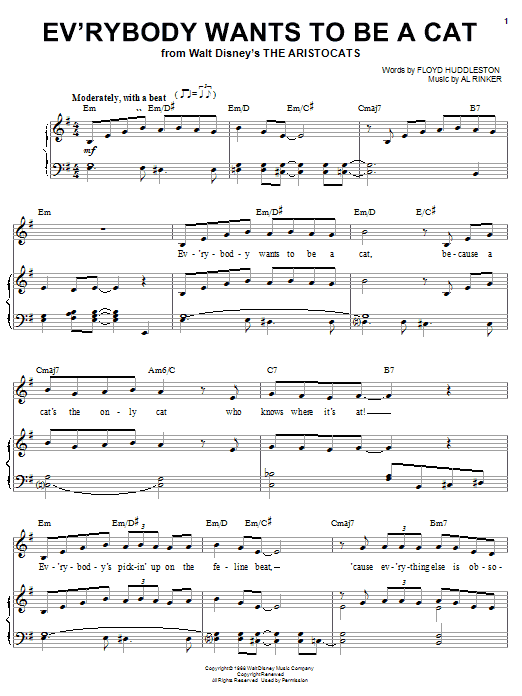 Al Rinker Ev'rybody Wants To Be A Cat (from Walt Disney's The Aristocats) sheet music notes printable PDF score