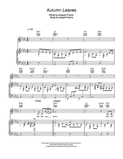 Eva Cassidy Autumn Leaves (Les Feuilles Mortes) sheet music notes printable PDF score