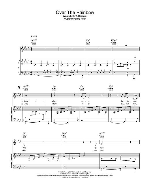 Eva Cassidy Over The Rainbow sheet music notes printable PDF score