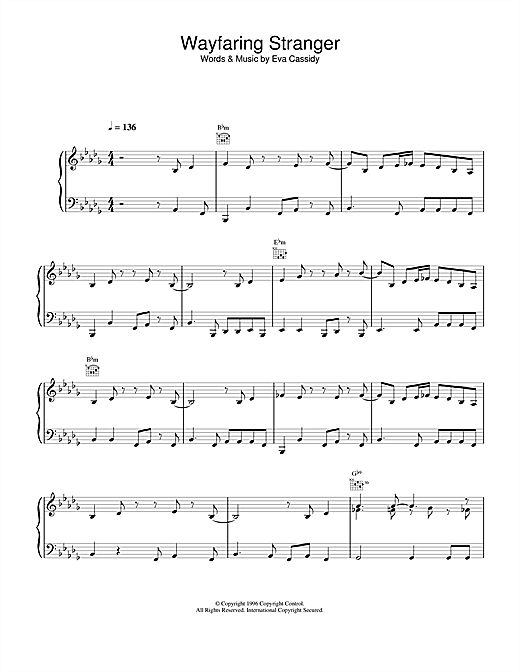 Eva Cassidy Wayfaring Stranger sheet music notes printable PDF score