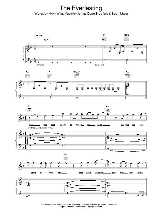 Manic Street Preachers Everlasting sheet music notes printable PDF score