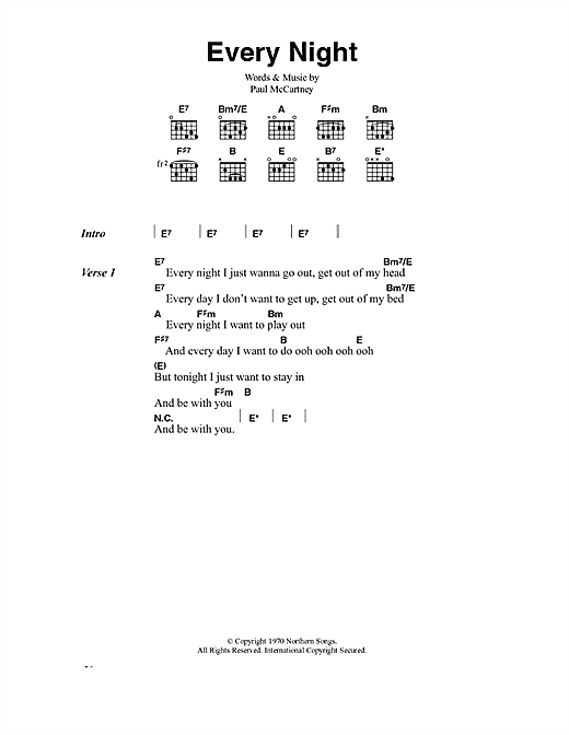 Paul McCartney Every Night sheet music notes printable PDF score