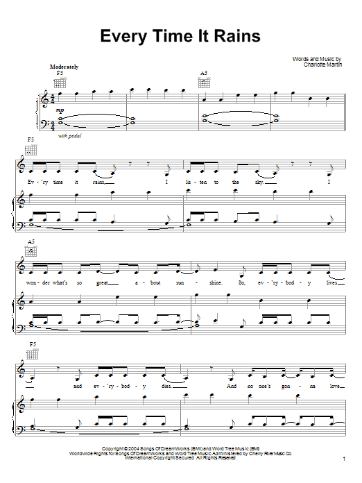 Charlotte Martin Every Time It Rains sheet music notes printable PDF score