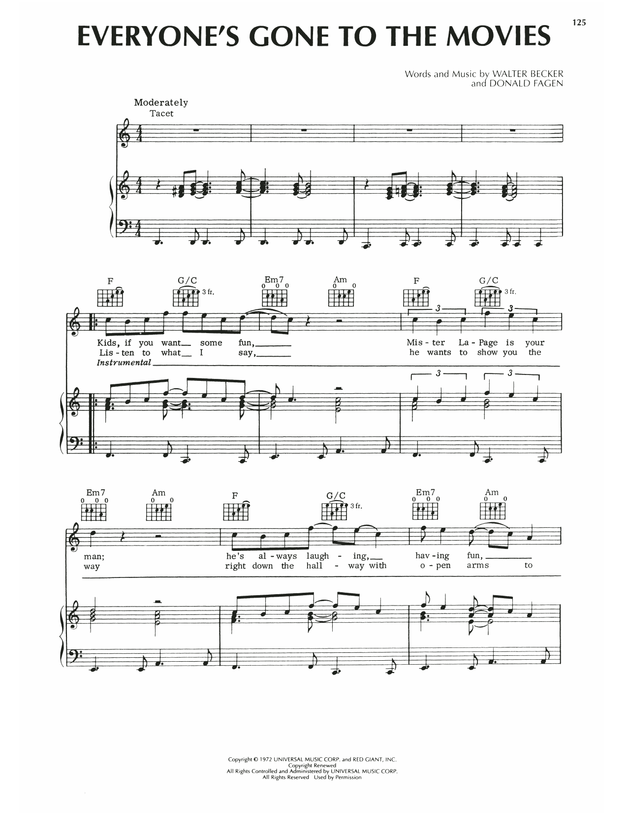 Steely Dan Everyone's Gone To The Movies sheet music notes printable PDF score