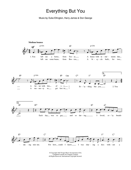 Duke Ellington Everything But You sheet music notes printable PDF score