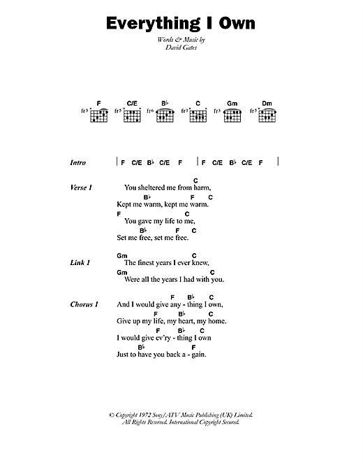 Ken Boothe Everything I Own sheet music notes printable PDF score