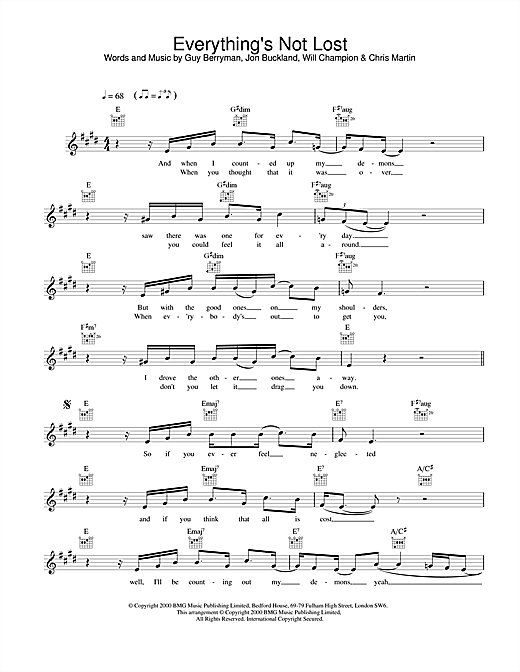 Coldplay Everything's Not Lost sheet music notes printable PDF score