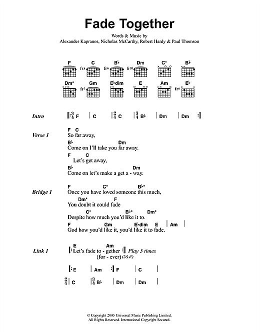 Franz Ferdinand Fade Together sheet music notes printable PDF score