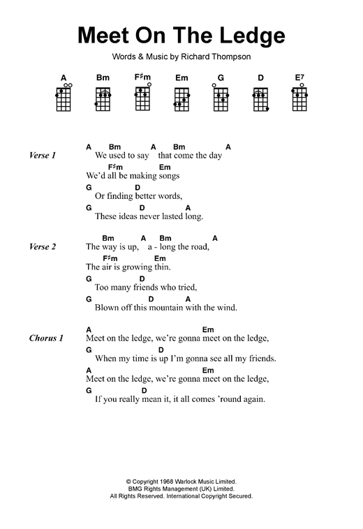 Fairport Convention Meet On The Ledge sheet music notes and chords - download printable PDF.