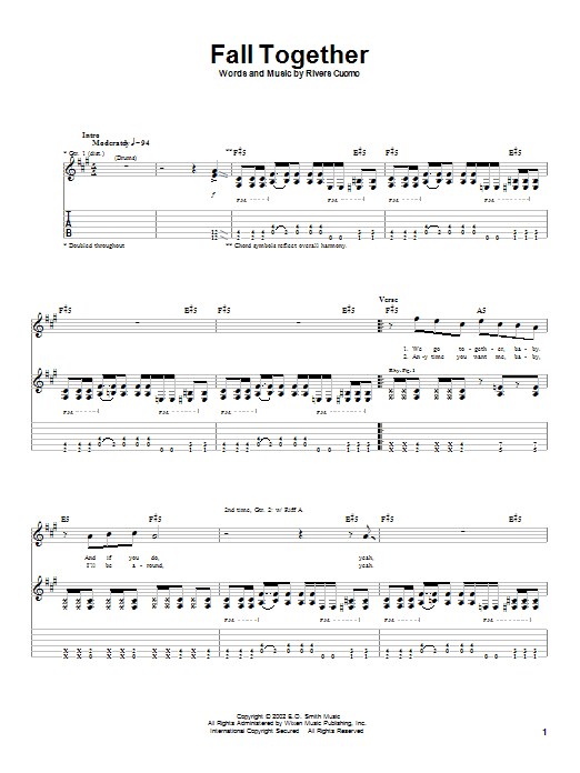 Weezer Fall Together sheet music notes printable PDF score