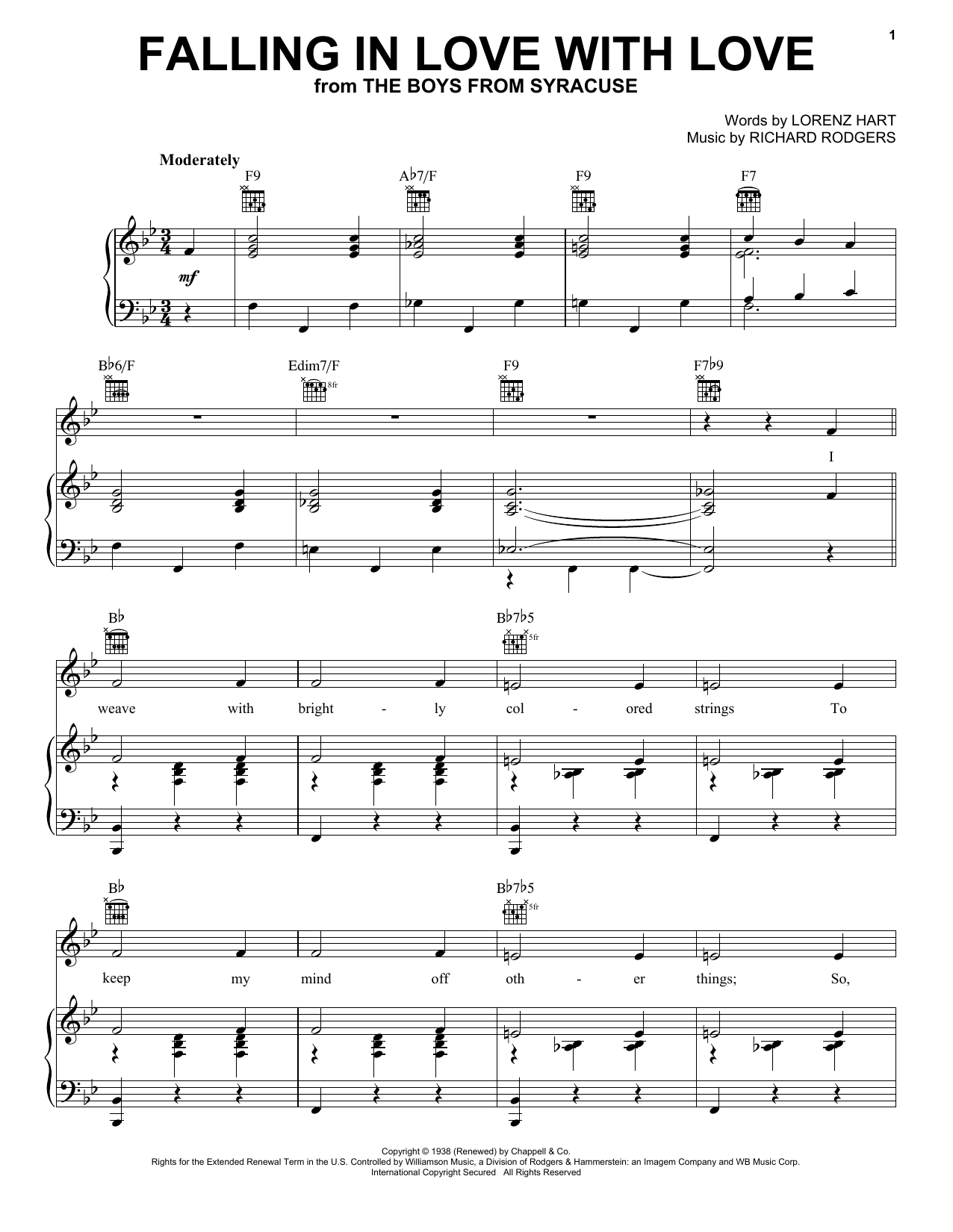 Rodgers & Hart Falling In Love With Love sheet music notes printable PDF score