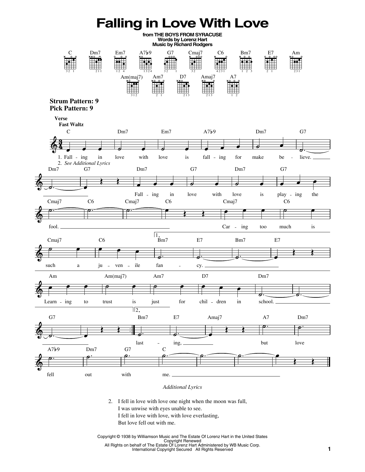 Rodgers & Hart Falling In Love With Love (from The Boys From Syracuse) sheet music notes printable PDF score
