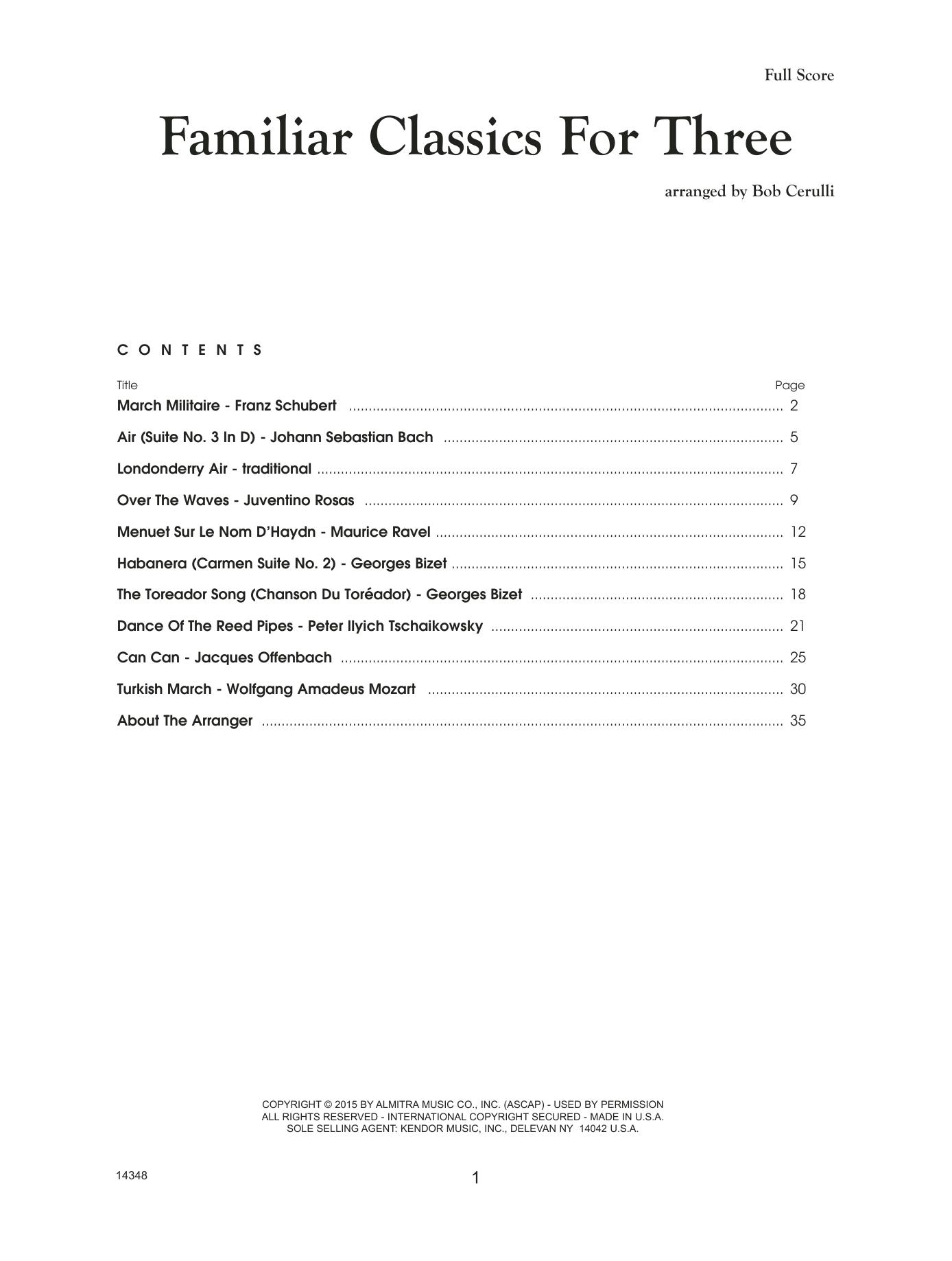 Bob Cerulli Familiar Classics For Three - Full Score sheet music notes printable PDF score