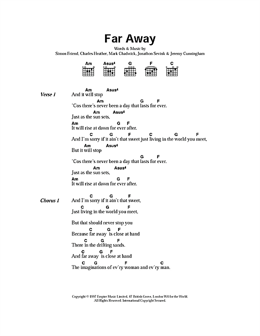 The Levellers Far Away sheet music notes printable PDF score