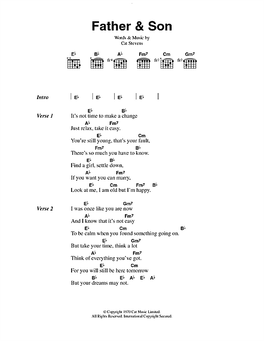 Boyzone Father And Son sheet music notes printable PDF score