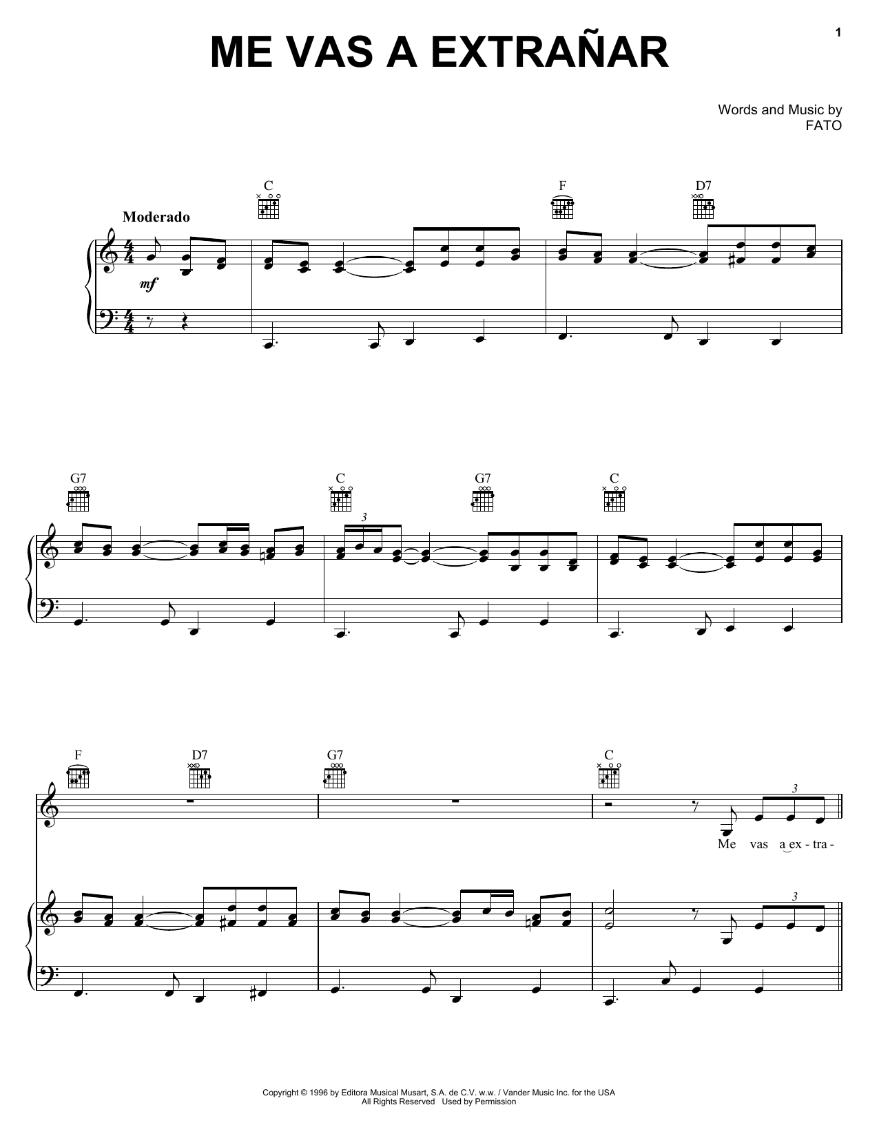 FATO Me Vas A Extranar sheet music notes and chords. Download Printable PDF.