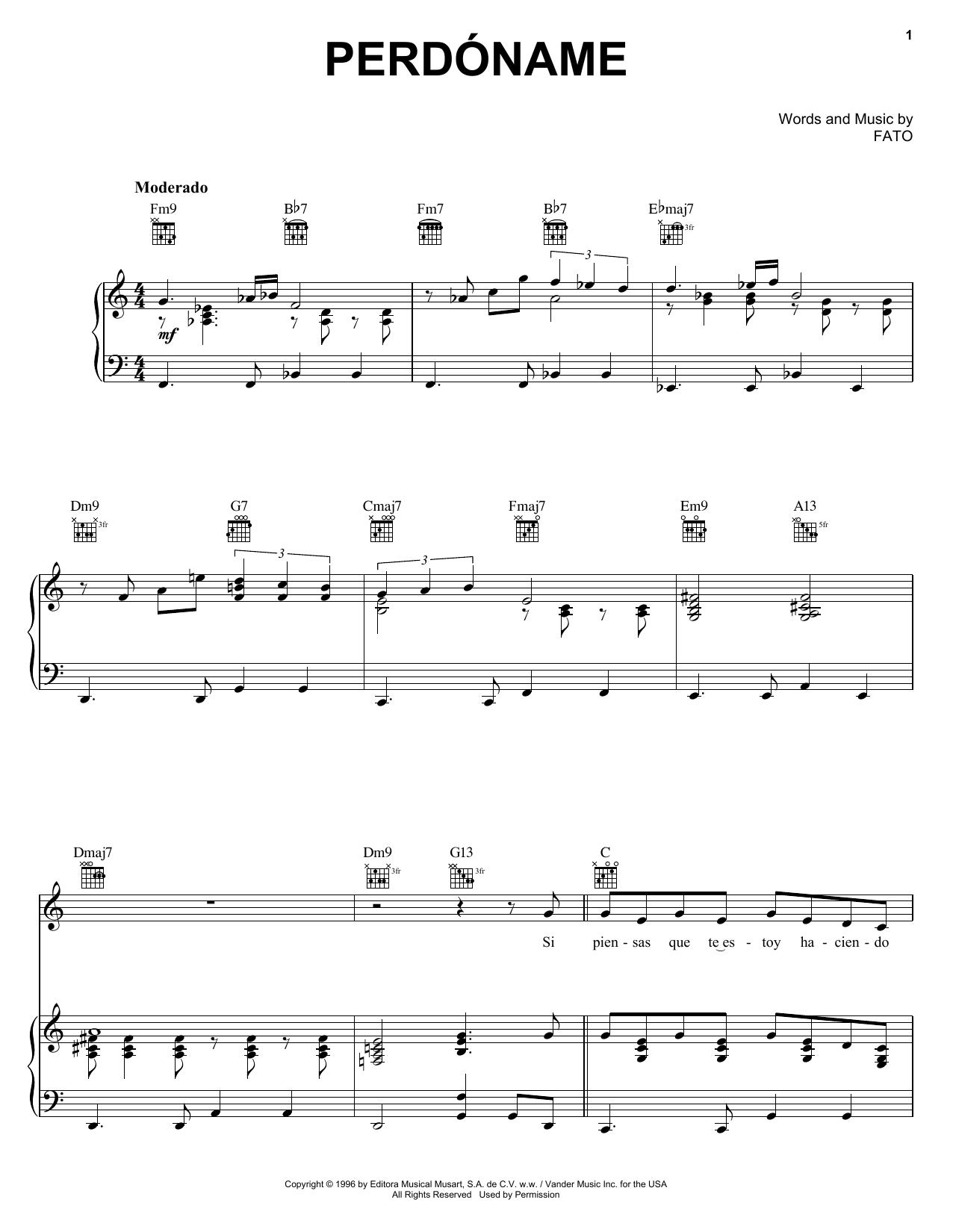 FATO Perdoname sheet music notes and chords. Download Printable PDF.