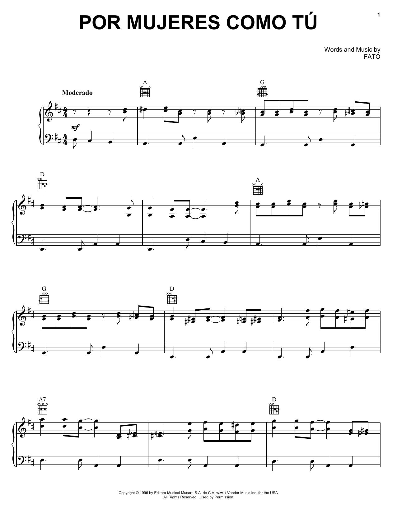 FATO Por Mujeres Como Tu sheet music notes and chords. Download Printable PDF.