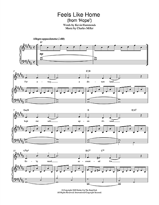 Charles Miller & Kevin Hammonds Feels Like Home (from Hope) sheet music notes printable PDF score