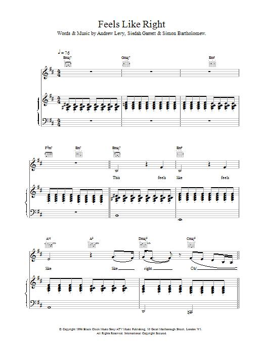 The Brand New Heavies Feels Like Right sheet music notes printable PDF score