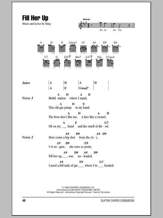 Sting Fill Her Up sheet music notes printable PDF score