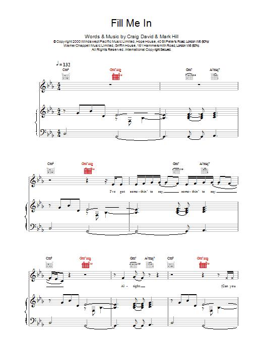Craig David Fill Me In sheet music notes printable PDF score