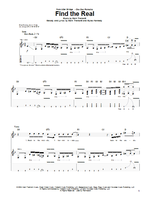 Alter Bridge Find The Real sheet music notes printable PDF score