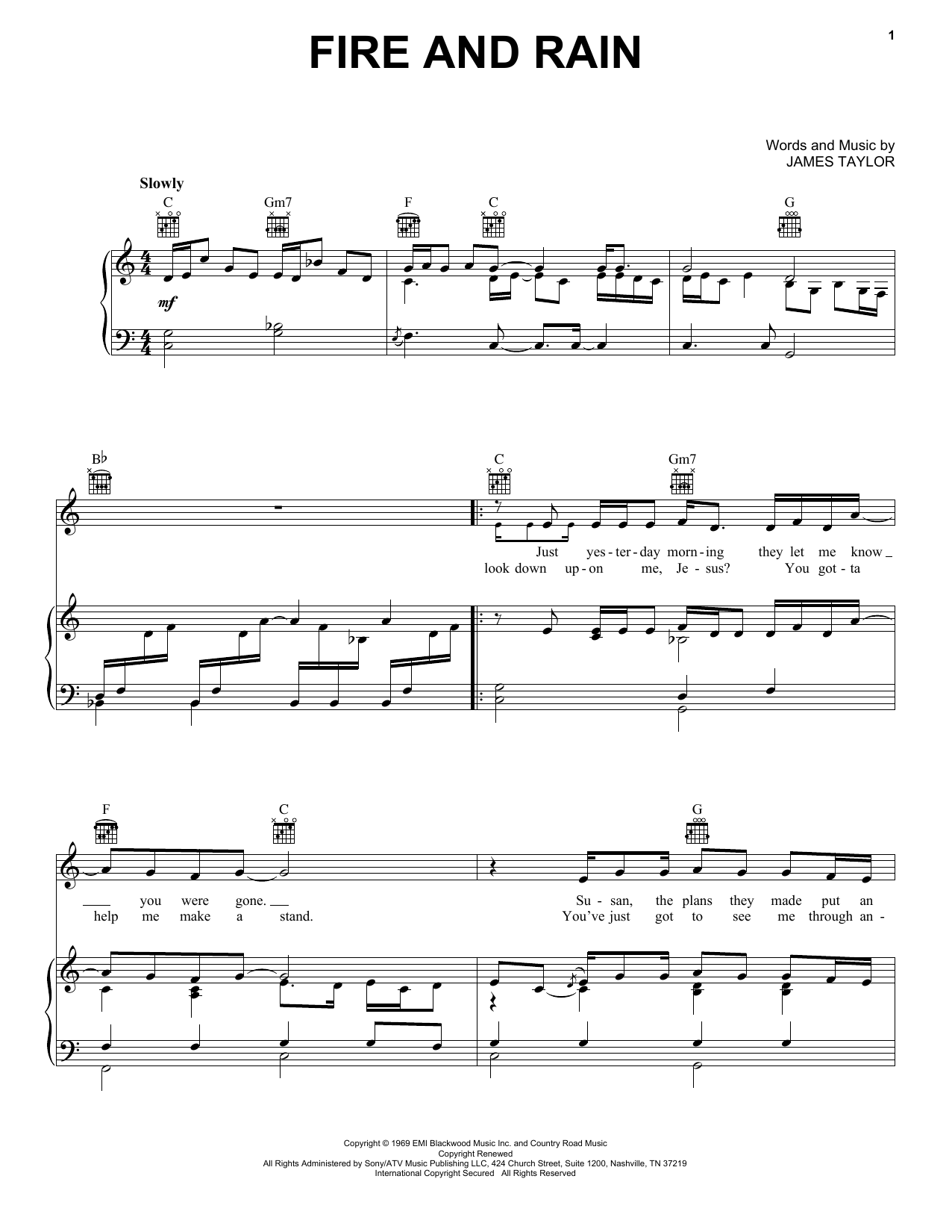James Taylor Fire And Rain sheet music notes printable PDF score