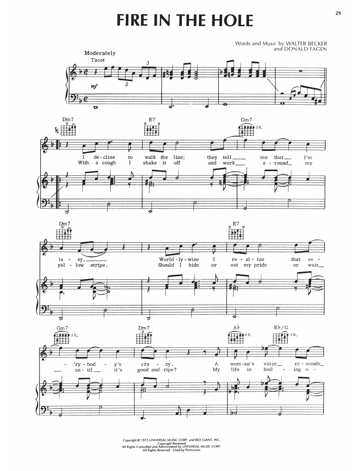 Steely Dan Fire In The Hole sheet music notes printable PDF score