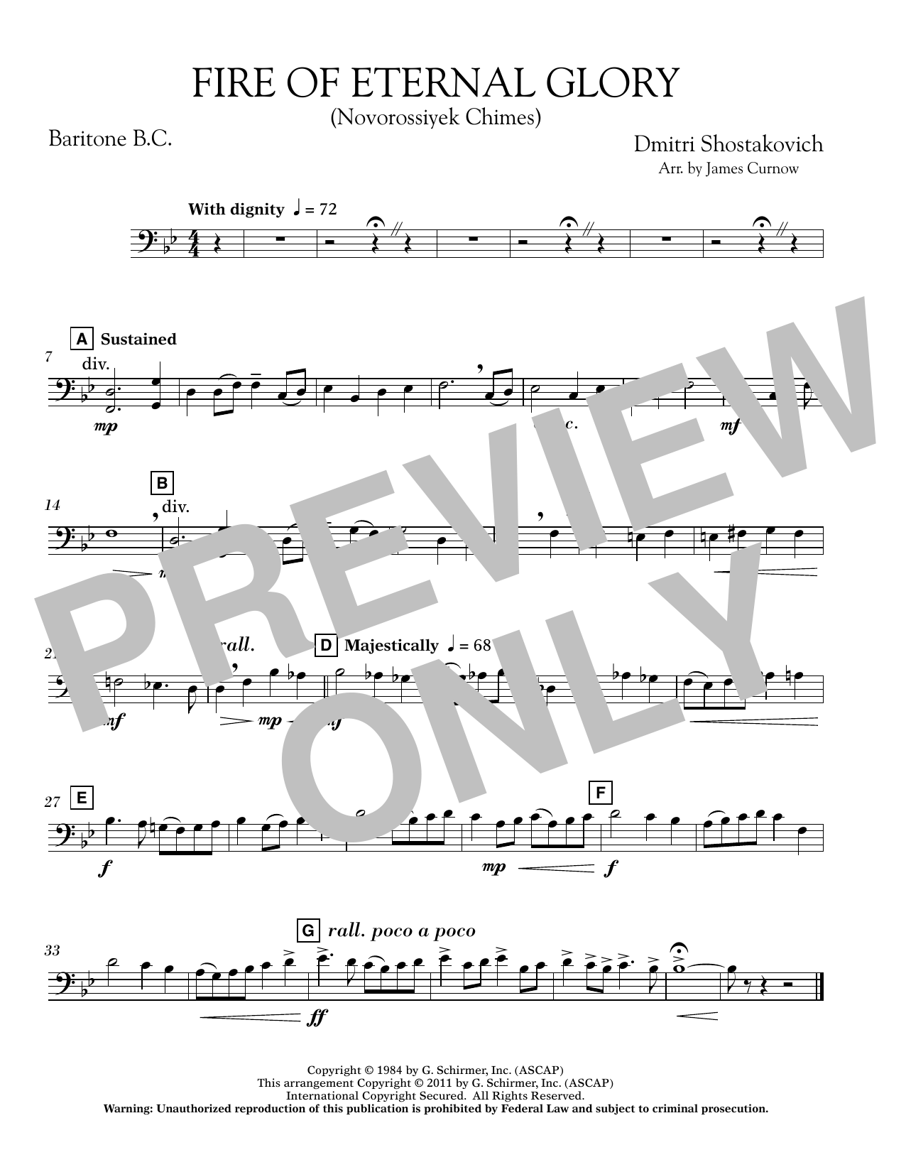 James Curnow Fire of Eternal Glory (Novorossiyek Chimes) - Baritone B.C. sheet music notes printable PDF score