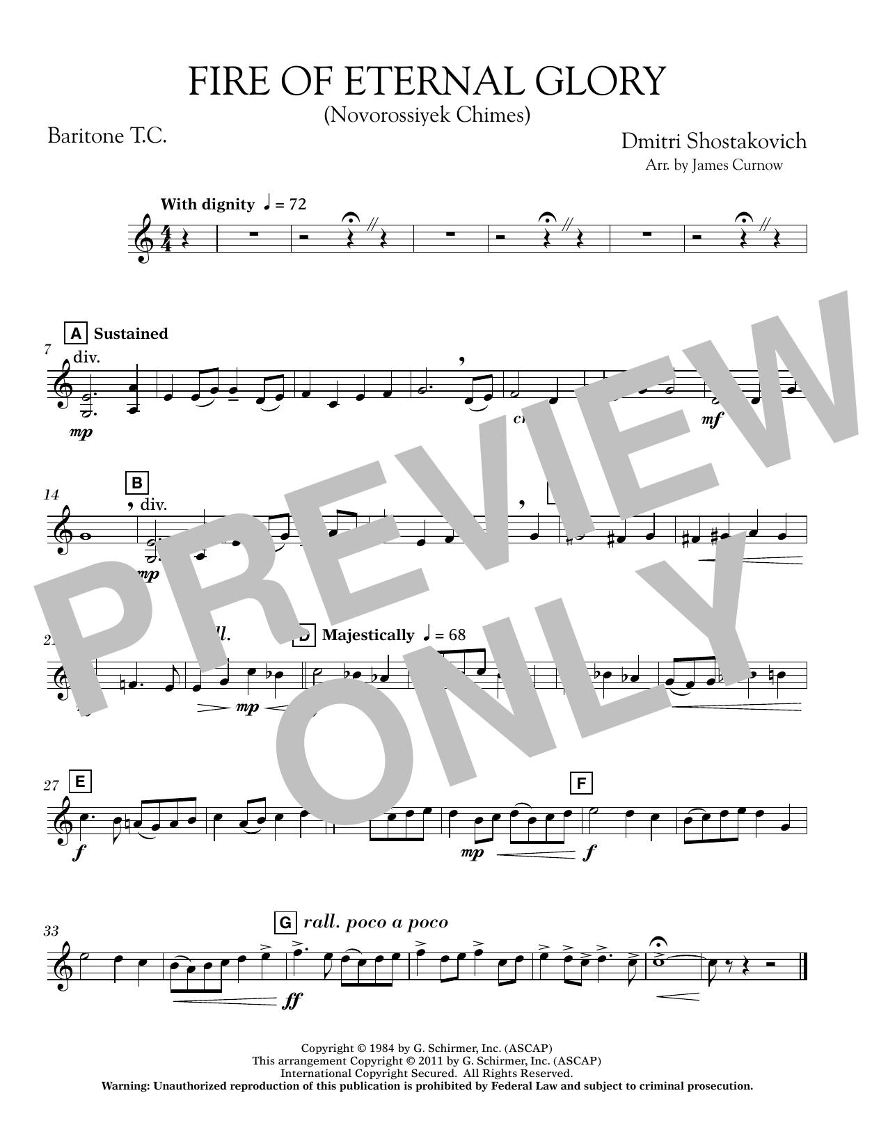 James Curnow Fire of Eternal Glory (Novorossiyek Chimes) - Baritone T.C. sheet music notes printable PDF score