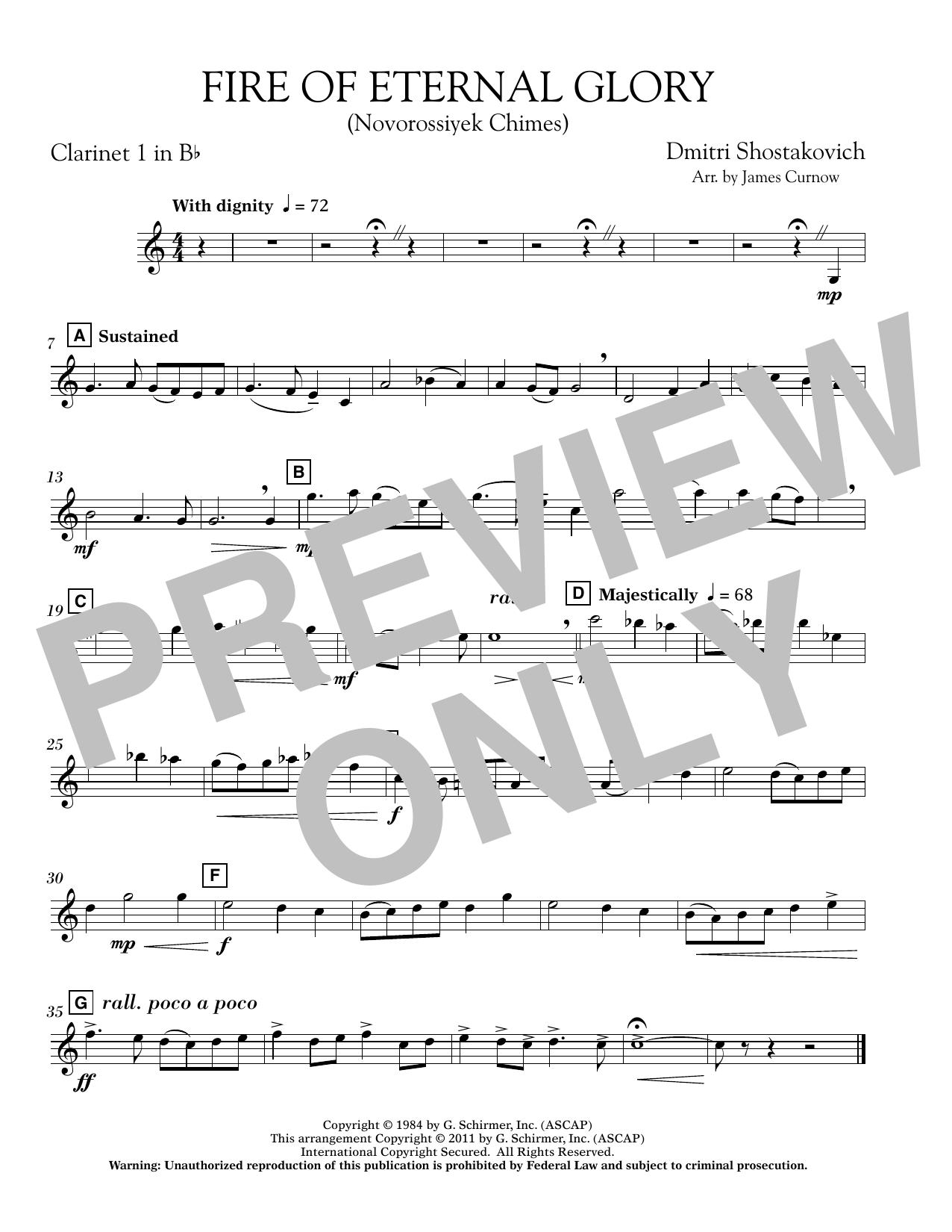 James Curnow Fire of Eternal Glory (Novorossiyek Chimes) - Bb Clarinet 1 sheet music notes printable PDF score