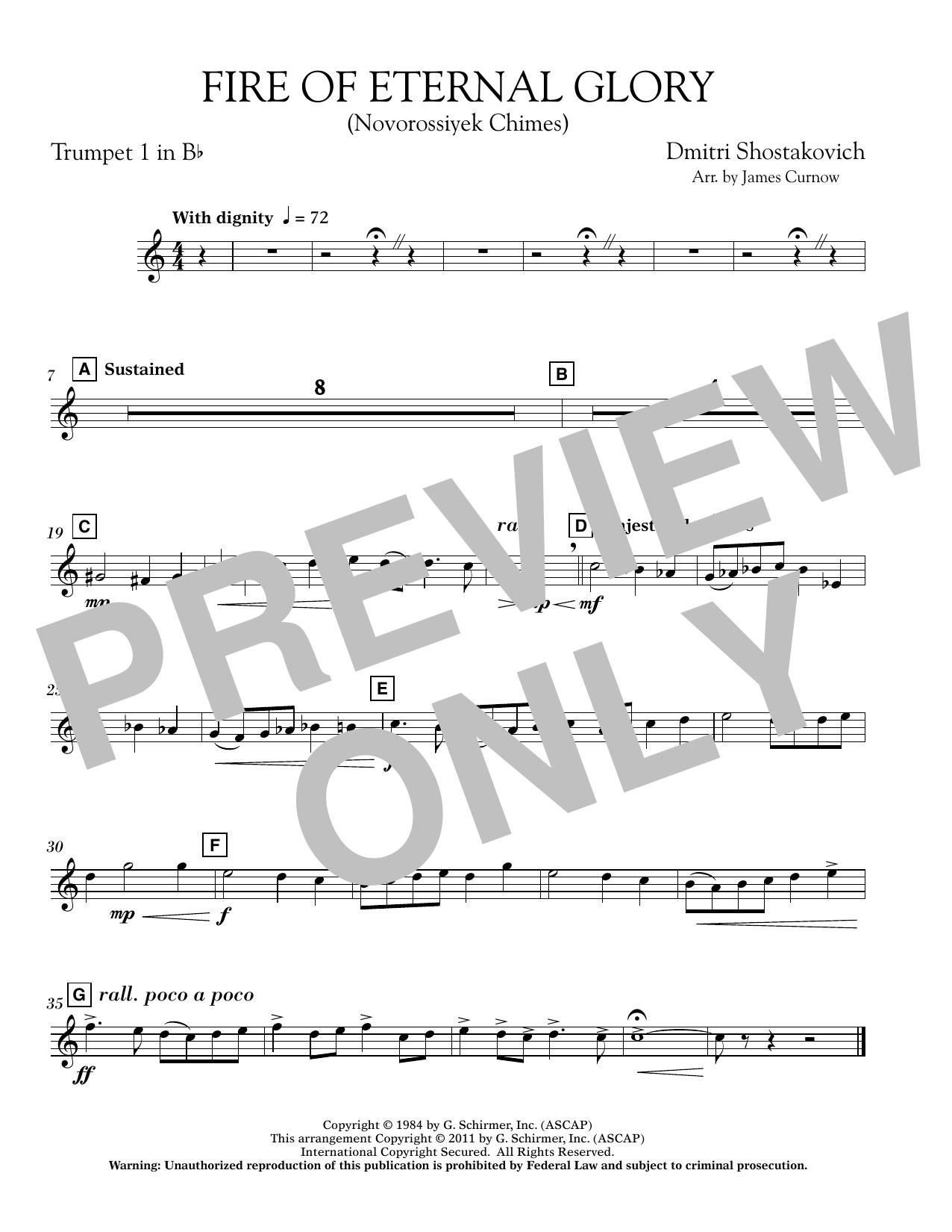 James Curnow Fire of Eternal Glory (Novorossiyek Chimes) - Bb Trumpet 1 sheet music notes printable PDF score