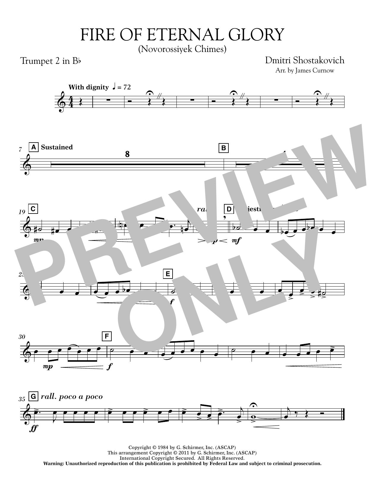 James Curnow Fire of Eternal Glory (Novorossiyek Chimes) - Bb Trumpet 2 sheet music notes printable PDF score