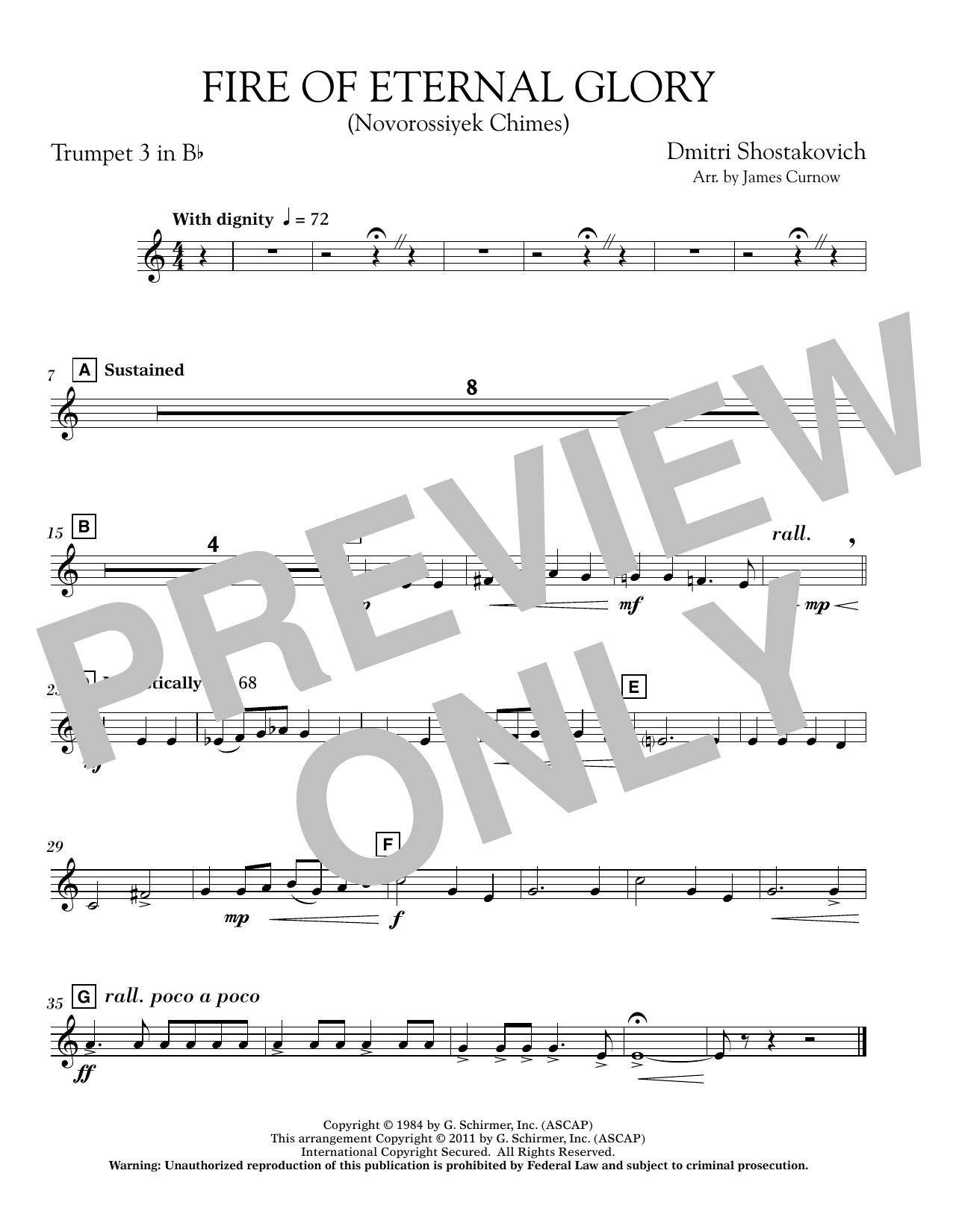 James Curnow Fire of Eternal Glory (Novorossiyek Chimes) - Bb Trumpet 3 sheet music notes printable PDF score