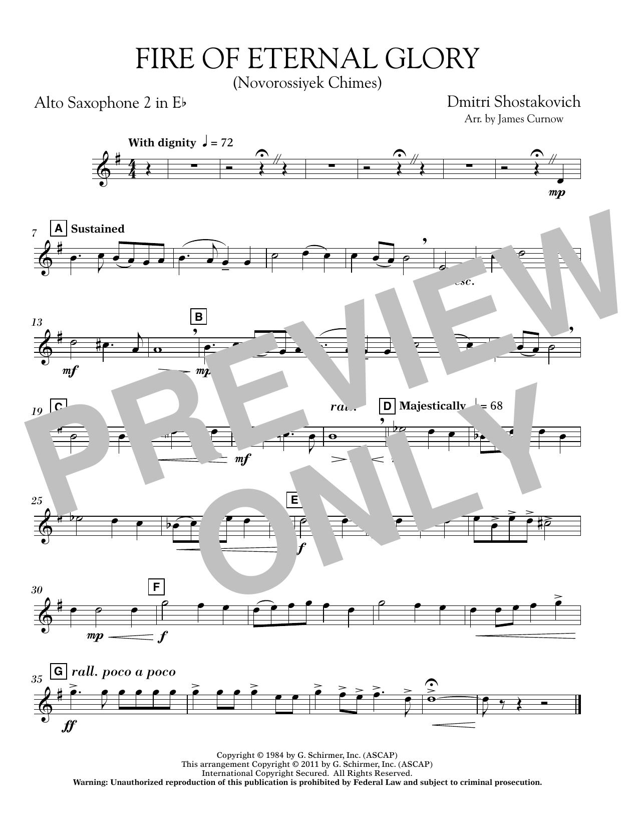 James Curnow Fire of Eternal Glory (Novorossiyek Chimes) - Eb Alto Saxophone 2 sheet music notes printable PDF score