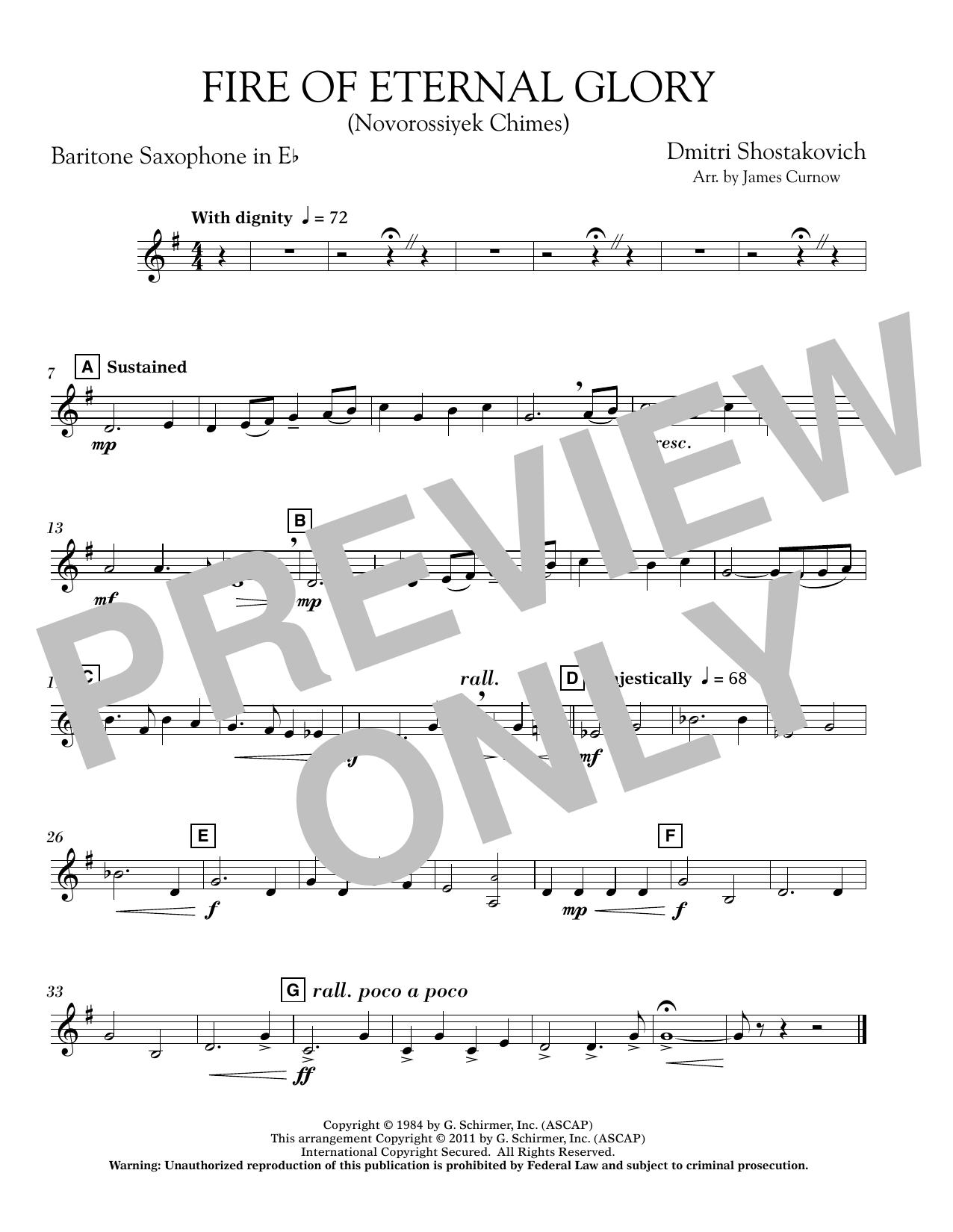 James Curnow Fire of Eternal Glory (Novorossiyek Chimes) - Eb Baritone Saxophone sheet music notes printable PDF score