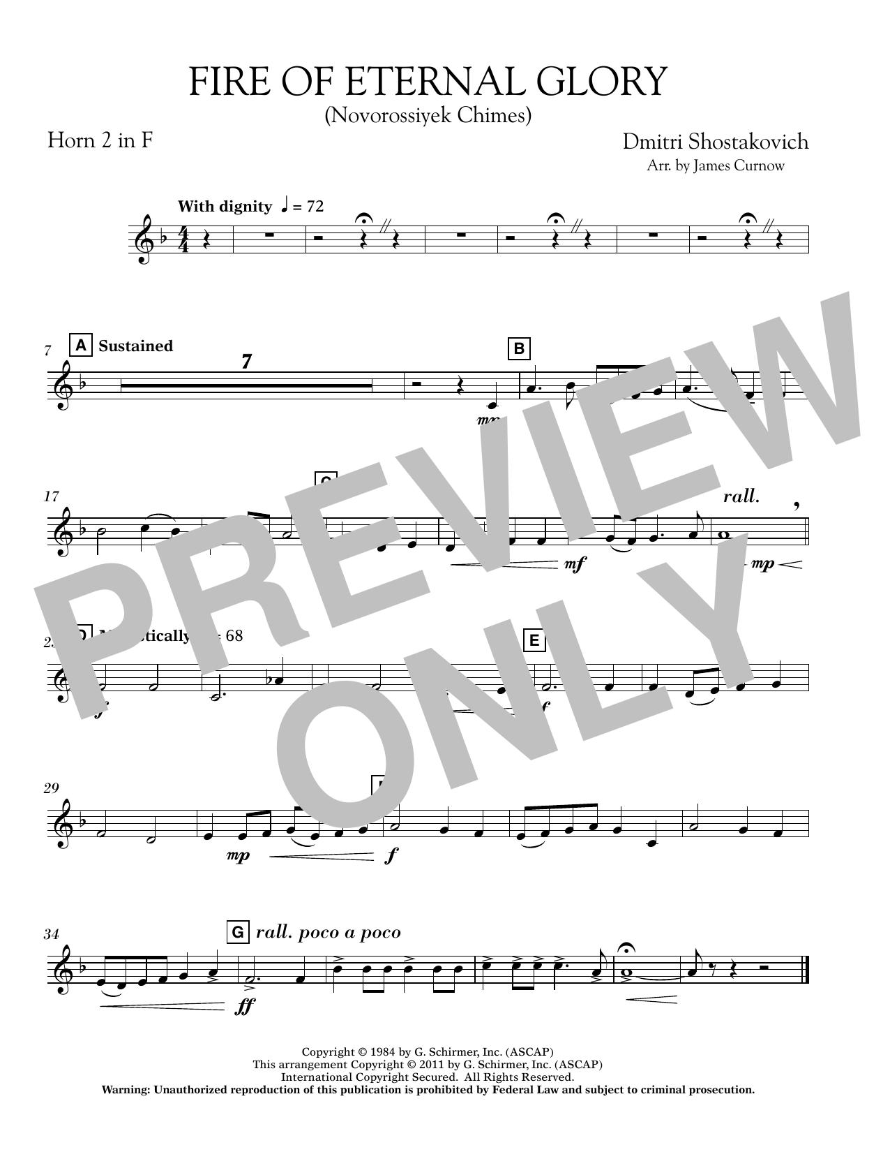 James Curnow Fire of Eternal Glory (Novorossiyek Chimes) - F Horn 2 sheet music notes printable PDF score