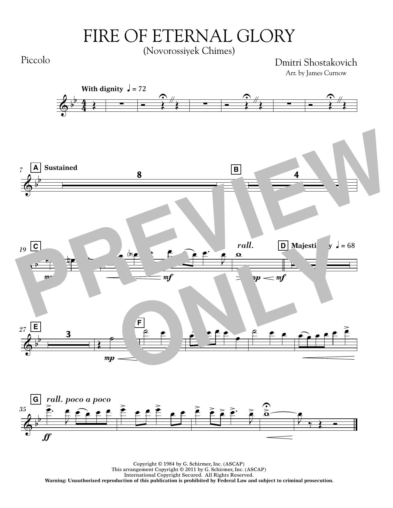 James Curnow Fire of Eternal Glory (Novorossiyek Chimes) - Piccolo sheet music notes printable PDF score