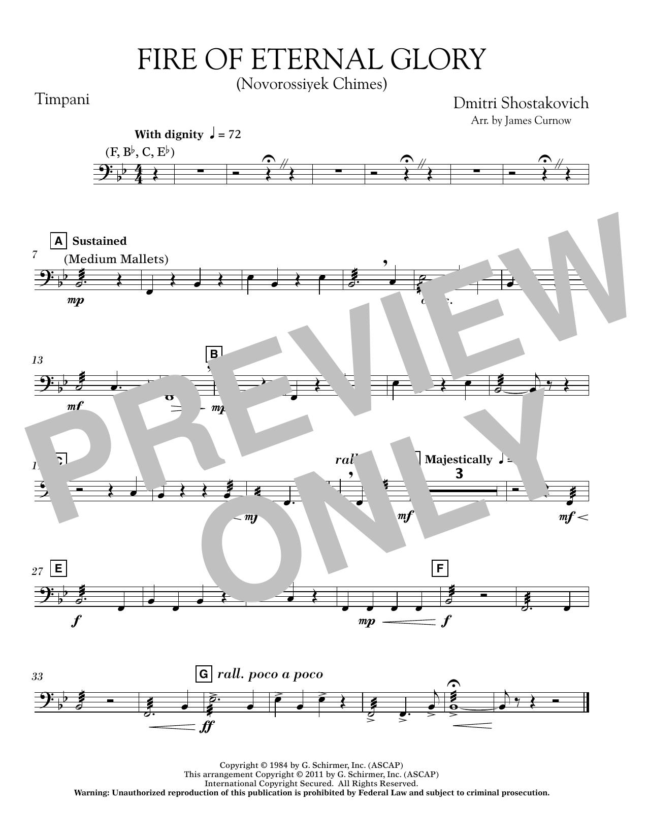 James Curnow Fire of Eternal Glory (Novorossiyek Chimes) - Timpani sheet music notes printable PDF score