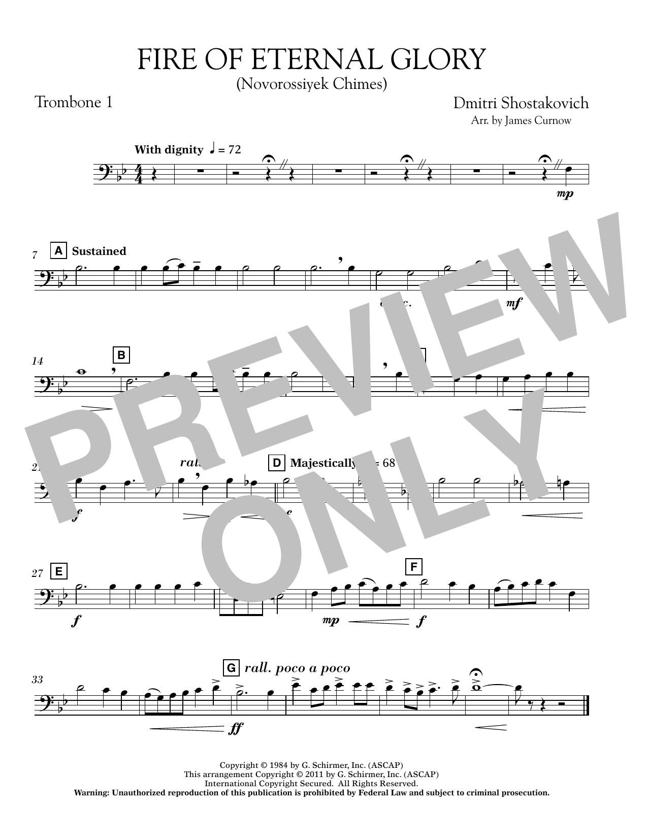 James Curnow Fire of Eternal Glory (Novorossiyek Chimes) - Trombone 1 sheet music notes printable PDF score