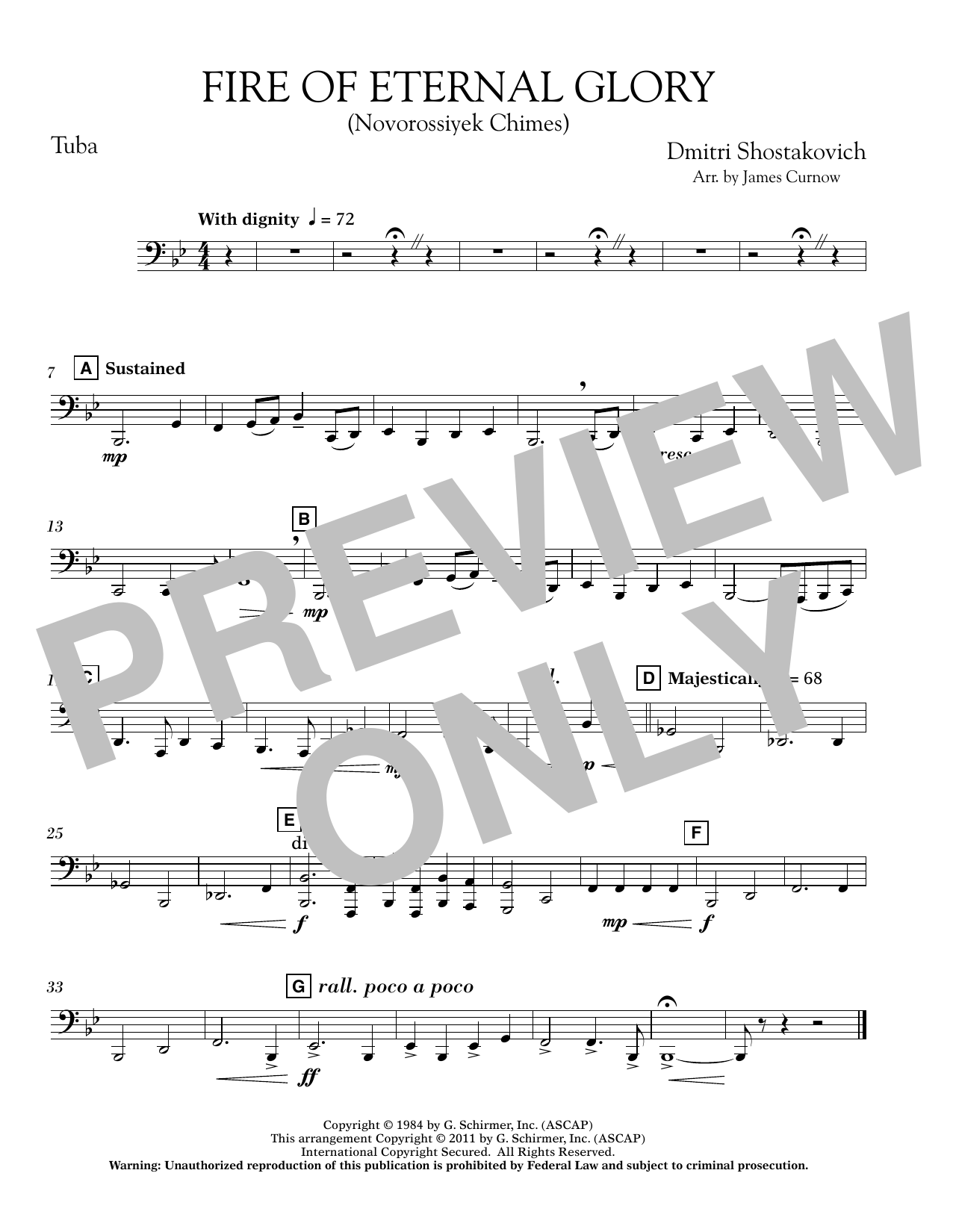 James Curnow Fire of Eternal Glory (Novorossiyek Chimes) - Tuba sheet music notes printable PDF score