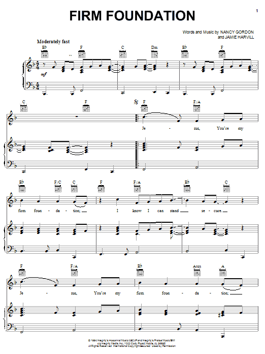 Nancy Gordon Firm Foundation sheet music notes printable PDF score